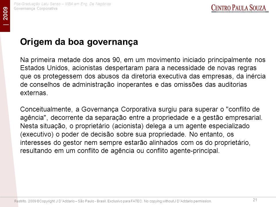 Origem da boa governança