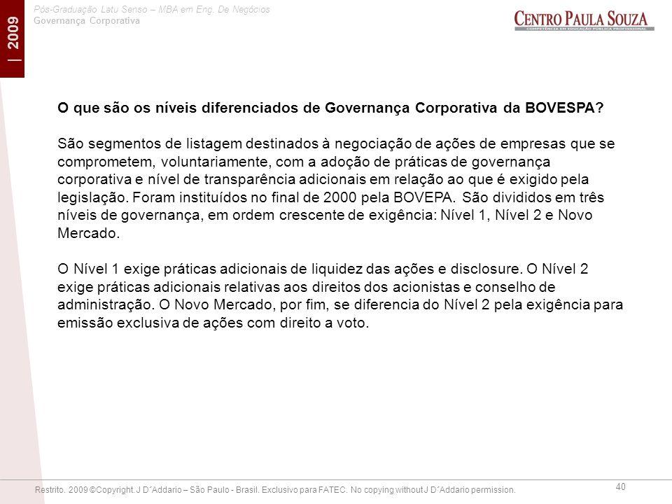 O que são os níveis diferenciados de Governança Corporativa da BOVESPA