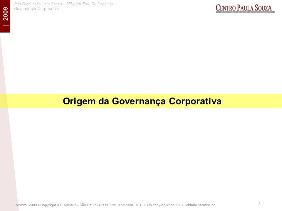 Origem da Governança Corporativa