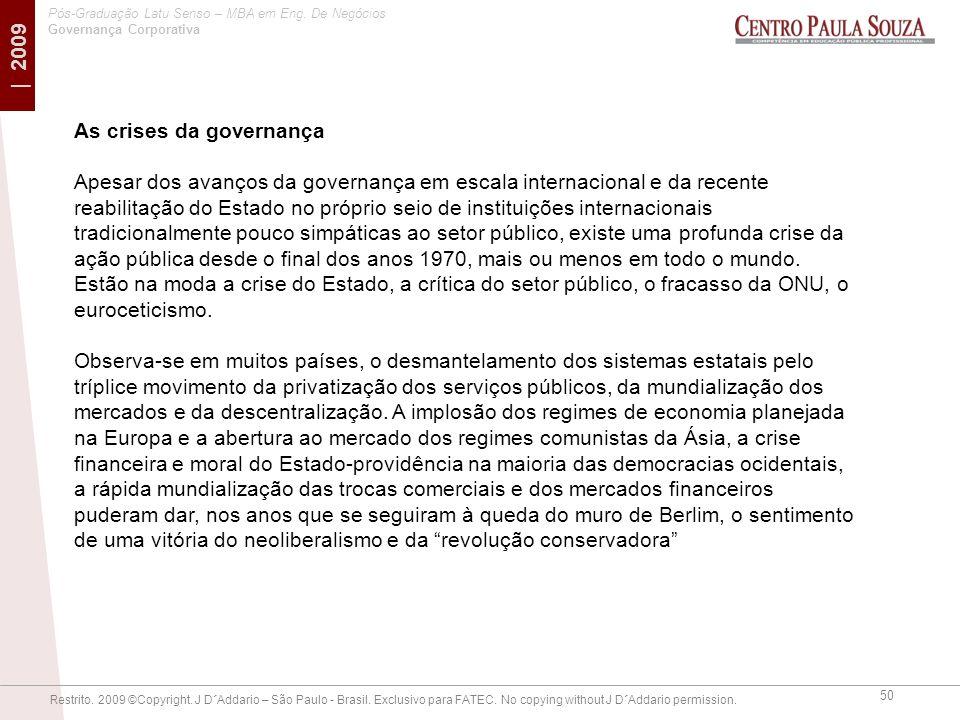 As crises da governança