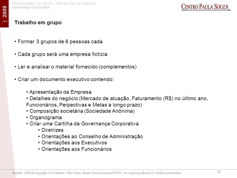 Trabalho em grupo Formar 3 grupos de 6 pessoas cada. Cada grupo será uma empresa fictícia. Ler e analisar o material fornecido (complementos)