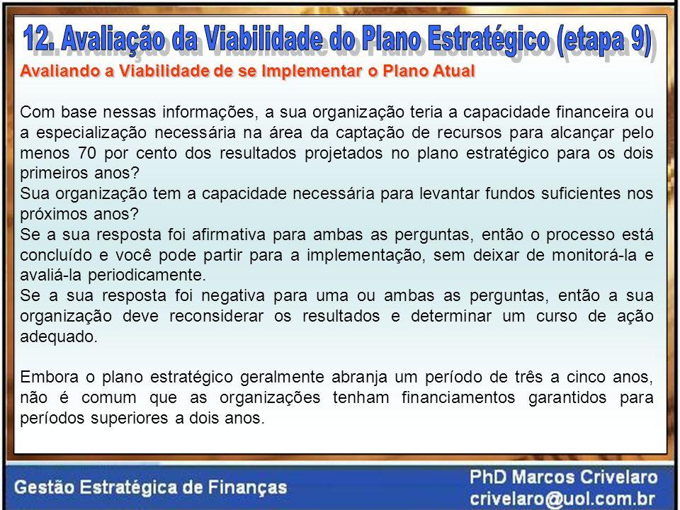 12. Avaliação da Viabilidade do Plano Estratégico (etapa 9)