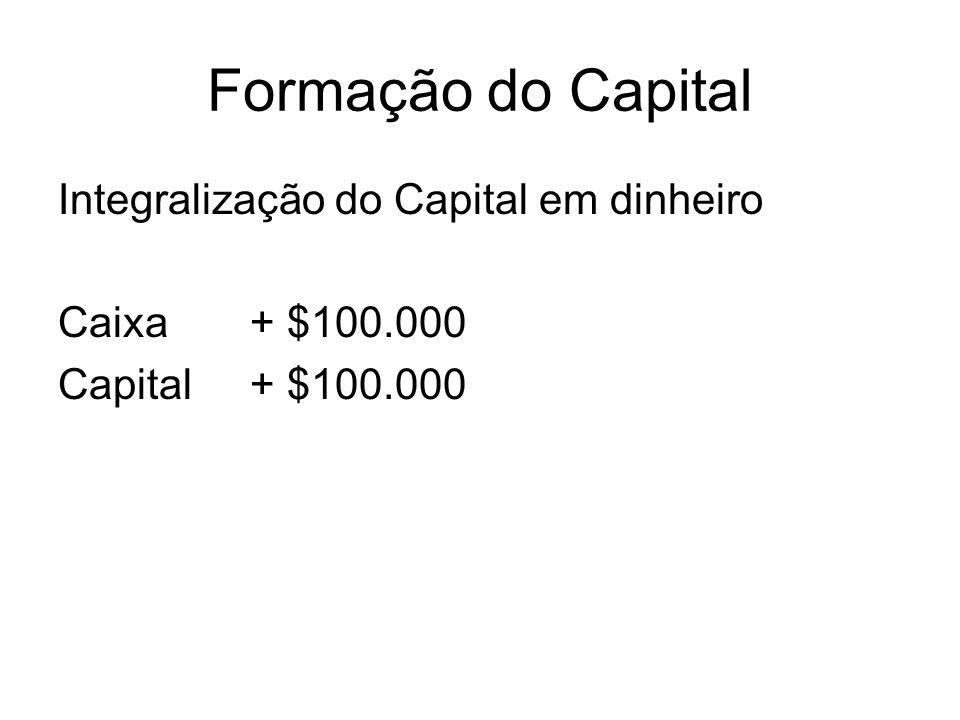 Formação do Capital Integralização do Capital em dinheiro