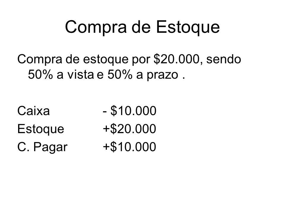 Compra de Estoque Compra de estoque por $20.000, sendo 50% a vista e 50% a prazo . Caixa - $10.000.