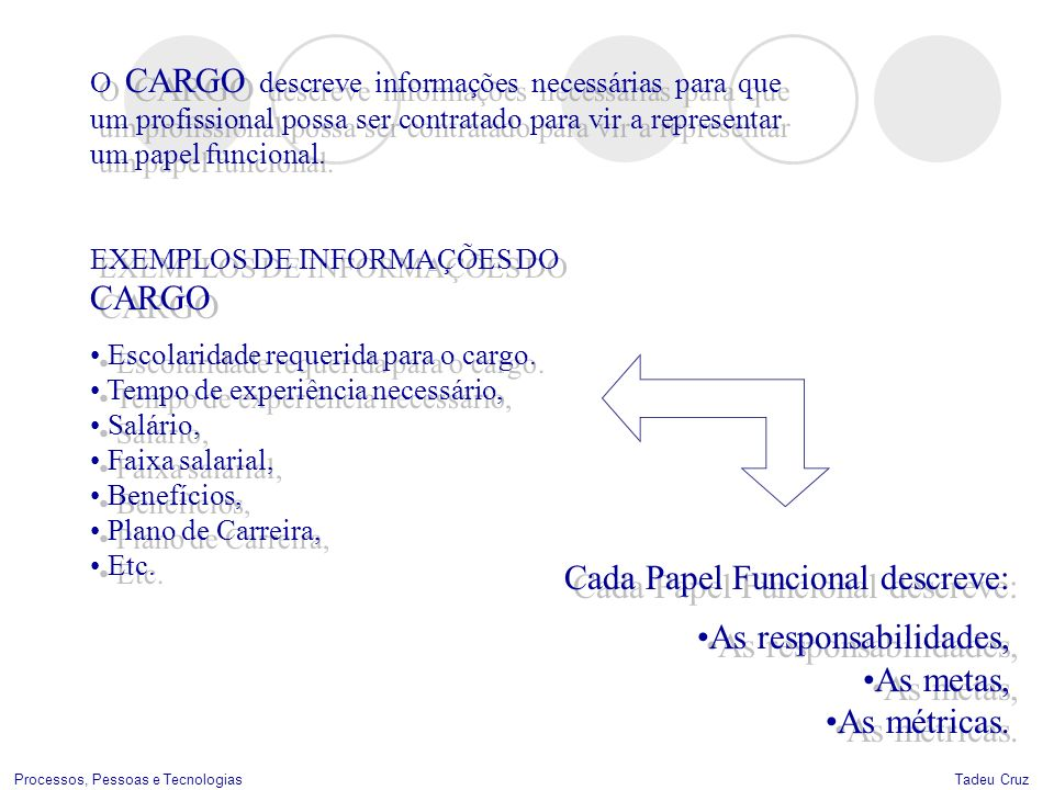 Cada Papel Funcional descreve: As responsabilidades, As metas,