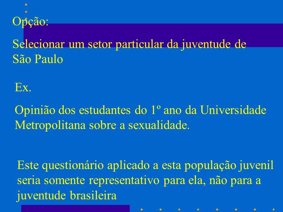 Opção: Selecionar um setor particular da juventude de São Paulo. Ex.