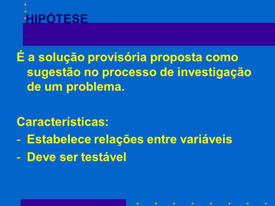 HIPÓTESE É a solução provisória proposta como sugestão no processo de investigação de um problema. Características: