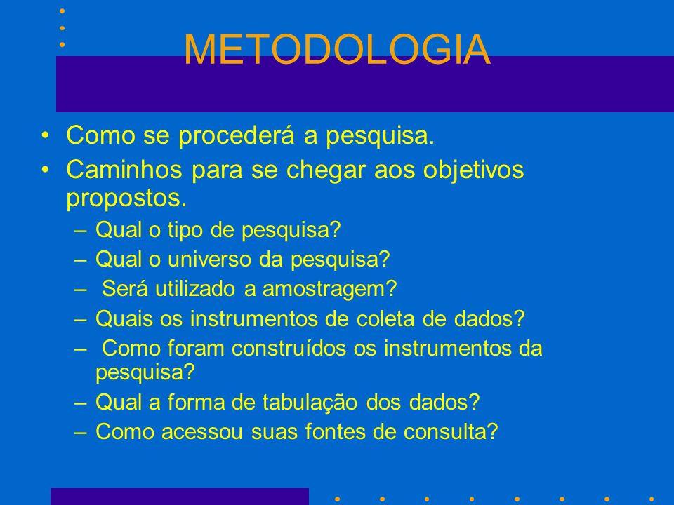 METODOLOGIA Como se procederá a pesquisa.