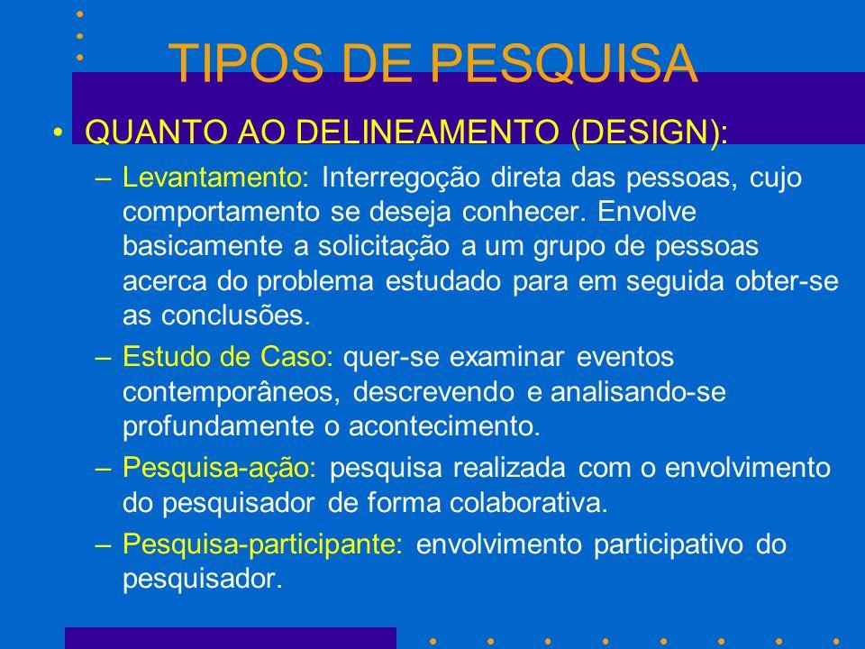 TIPOS DE PESQUISA QUANTO AO DELINEAMENTO (DESIGN):