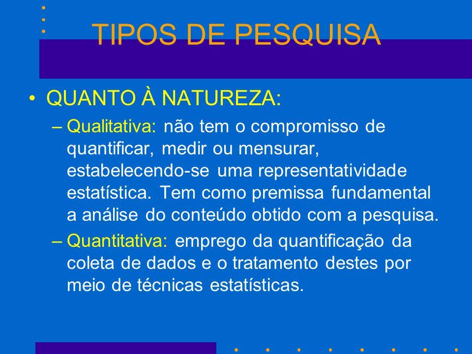 TIPOS DE PESQUISA QUANTO À NATUREZA: