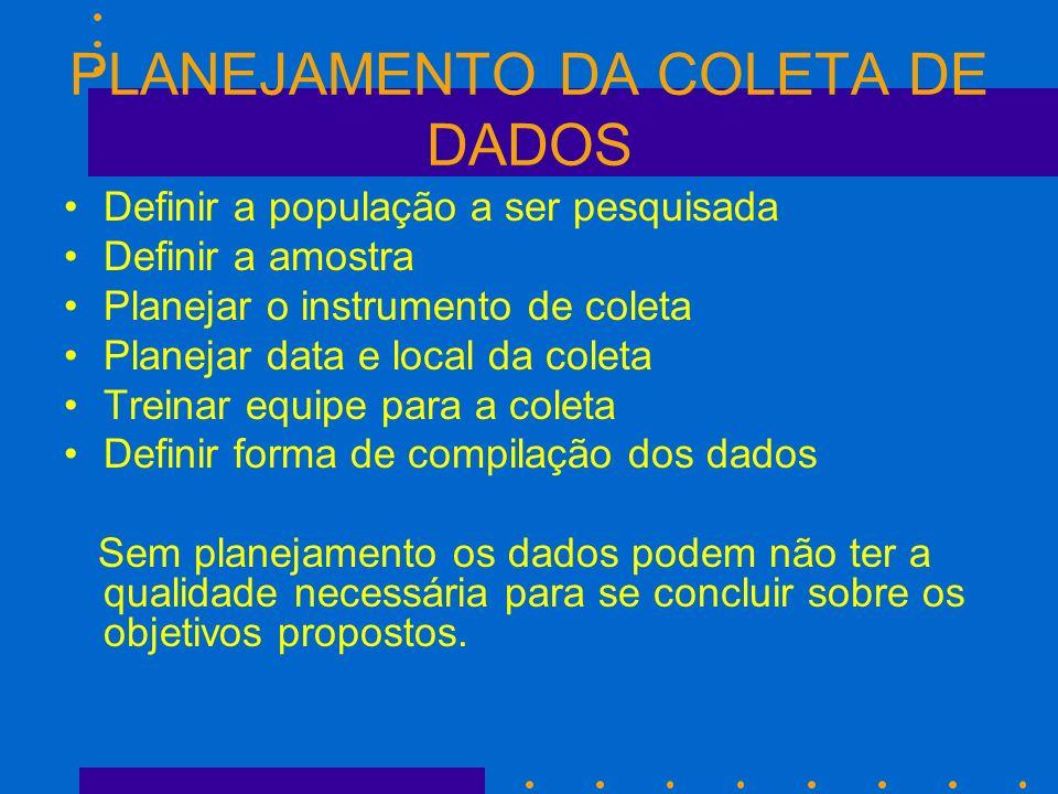 PLANEJAMENTO DA COLETA DE DADOS