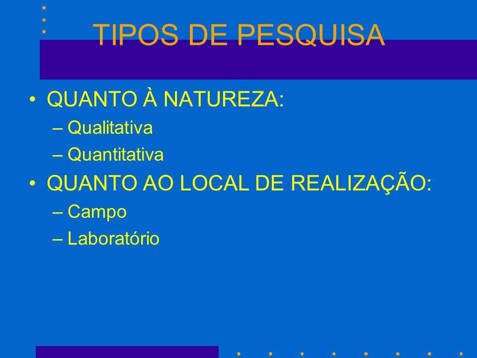 TIPOS DE PESQUISA QUANTO À NATUREZA: QUANTO AO LOCAL DE REALIZAÇÃO: