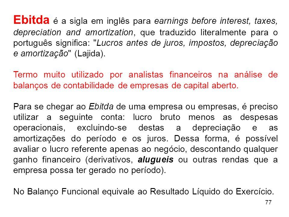 Ebitda é a sigla em inglês para earnings before interest, taxes, depreciation and amortization, que traduzido literalmente para o português significa: Lucros antes de juros, impostos, depreciação e amortização (Lajida).