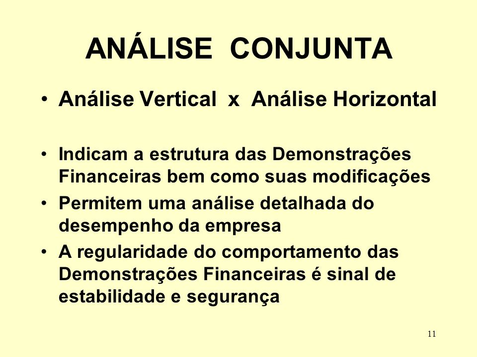 ANÁLISE CONJUNTA Análise Vertical x Análise Horizontal