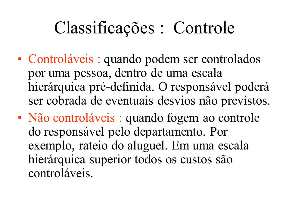 Classificações : Controle