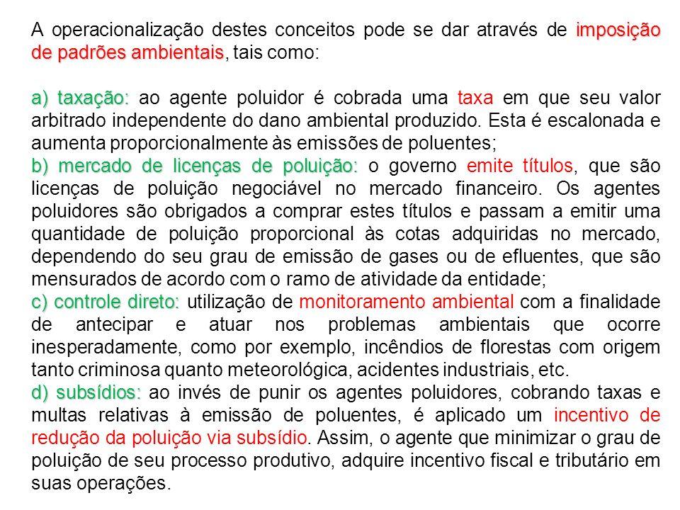 A operacionalização destes conceitos pode se dar através de imposição de padrões ambientais, tais como: