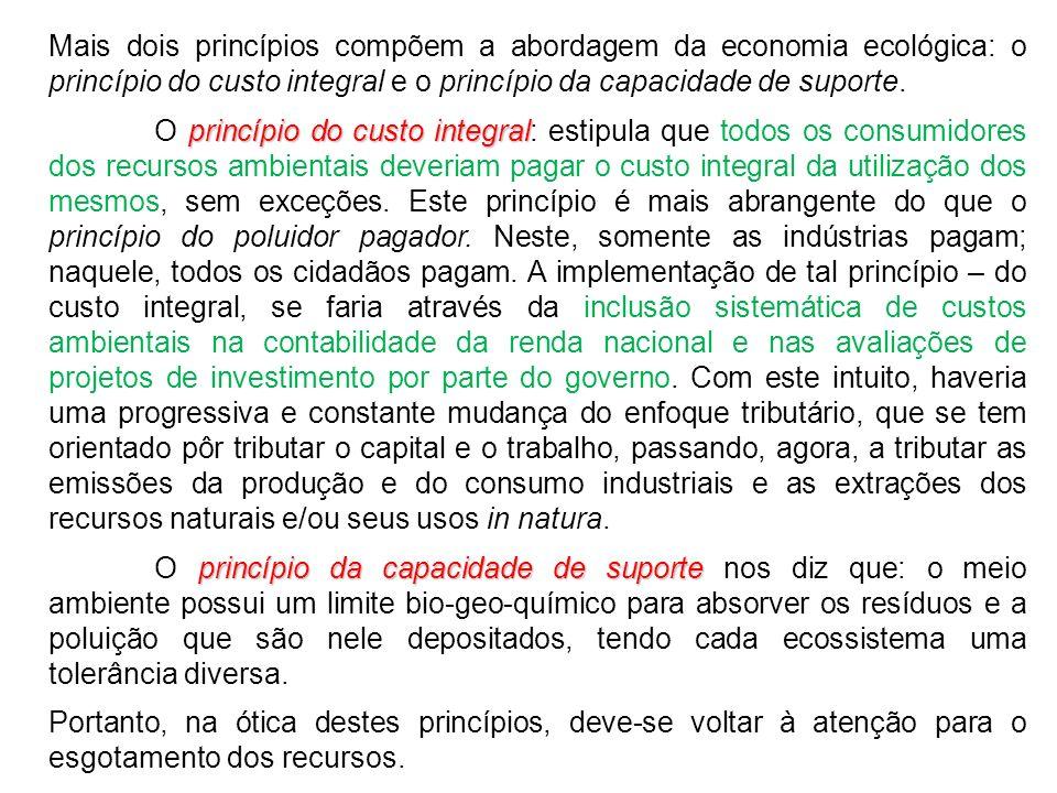 Mais dois princípios compõem a abordagem da economia ecológica: o princípio do custo integral e o princípio da capacidade de suporte.