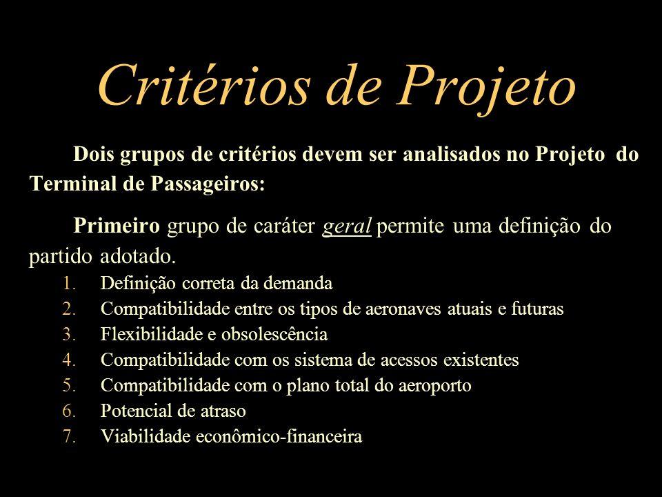 Critérios de Projeto Dois grupos de critérios devem ser analisados no Projeto do. Terminal de Passageiros: