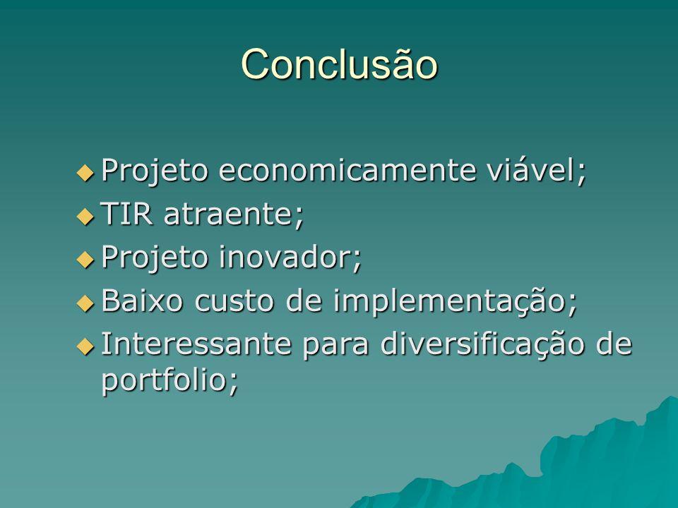 Conclusão Projeto economicamente viável; TIR atraente;