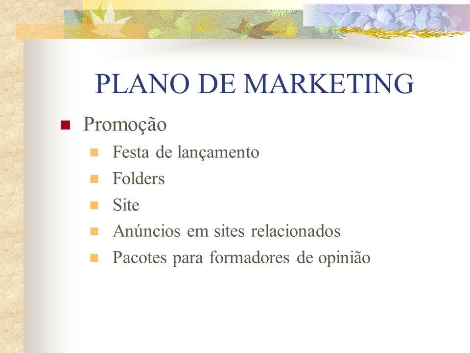 PLANO DE MARKETING Promoção Festa de lançamento Folders Site