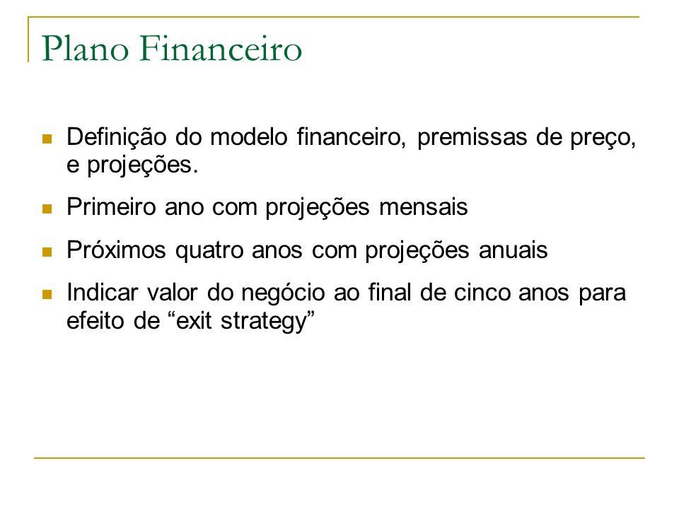 Plano Financeiro Definição do modelo financeiro, premissas de preço, e projeções. Primeiro ano com projeções mensais.