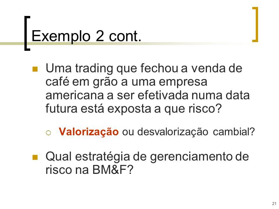 Exemplo 2 cont. Uma trading que fechou a venda de café em grão a uma empresa americana a ser efetivada numa data futura está exposta a que risco