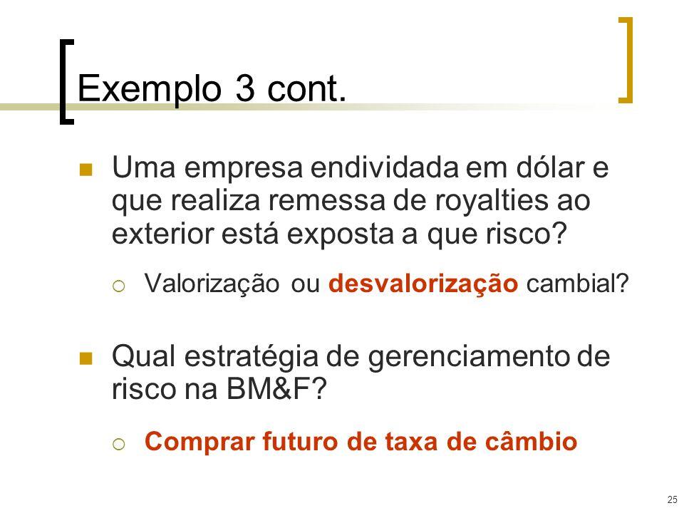 Exemplo 3 cont. Uma empresa endividada em dólar e que realiza remessa de royalties ao exterior está exposta a que risco