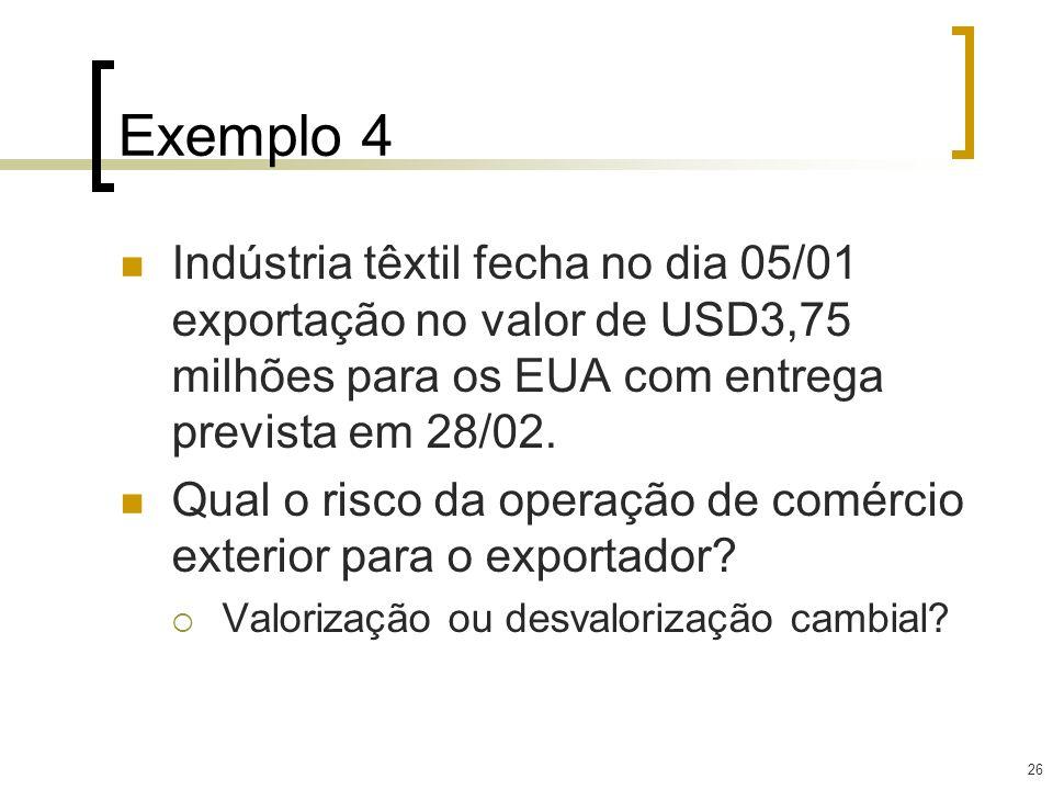 Exemplo 4 Indústria têxtil fecha no dia 05/01 exportação no valor de USD3,75 milhões para os EUA com entrega prevista em 28/02.
