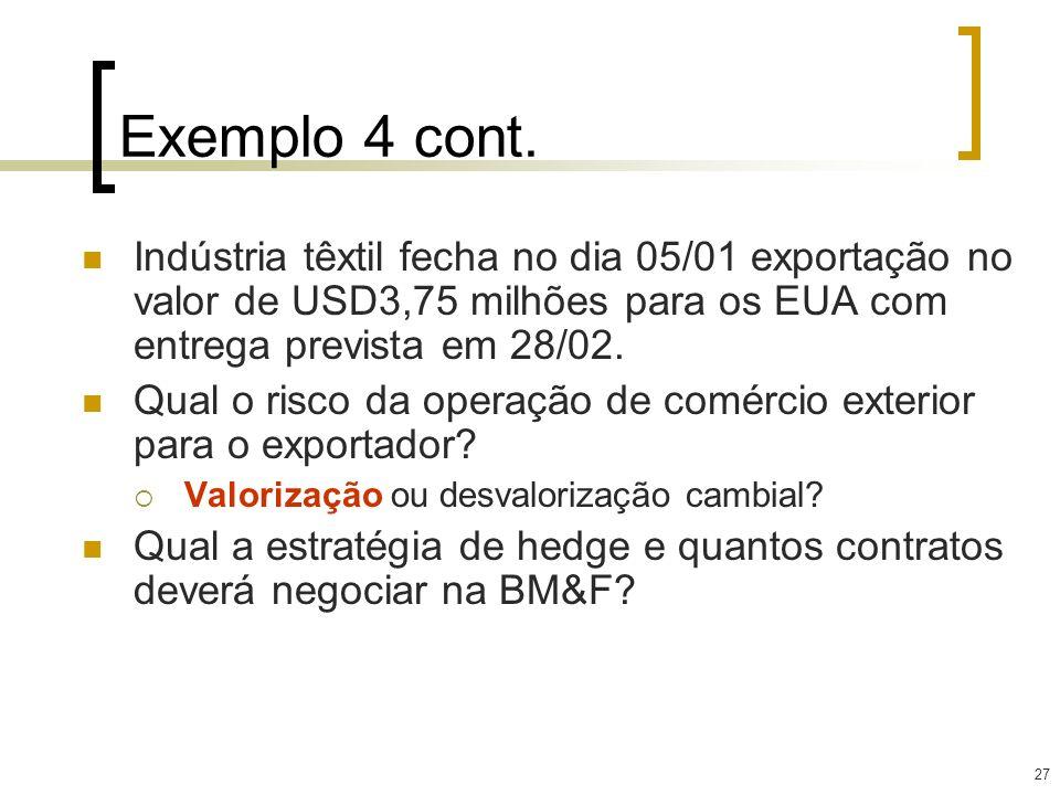 Exemplo 4 cont. Indústria têxtil fecha no dia 05/01 exportação no valor de USD3,75 milhões para os EUA com entrega prevista em 28/02.