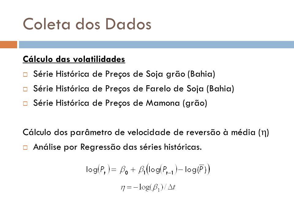 Coleta dos Dados Cálculo das volatilidades