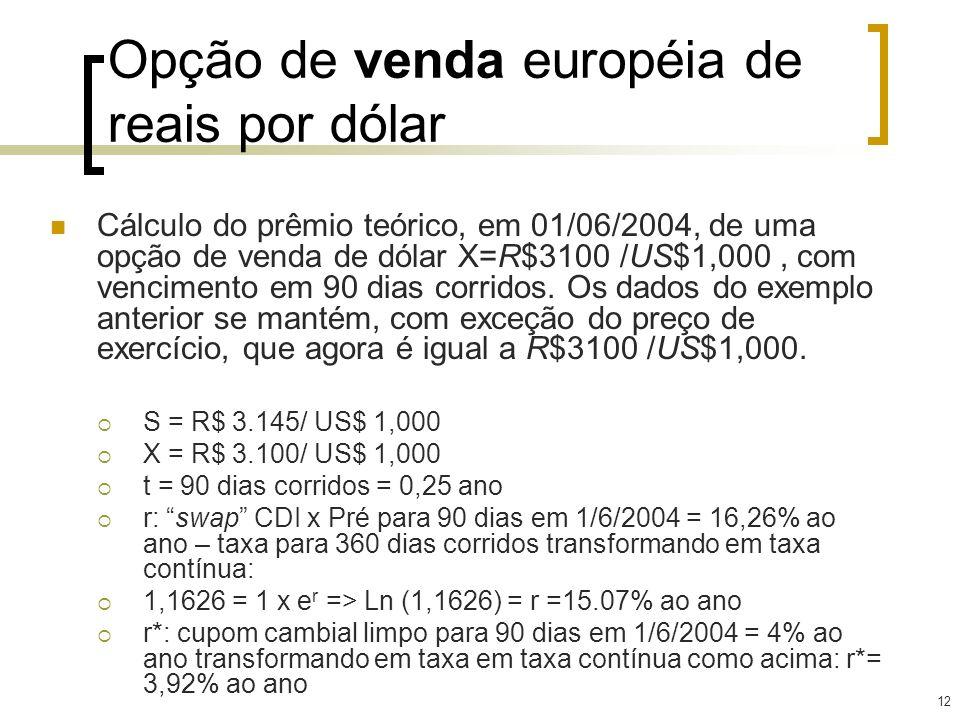 Opção de venda européia de reais por dólar