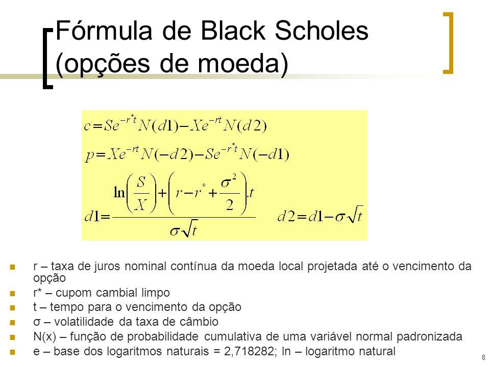 Fórmula de Black Scholes (opções de moeda)