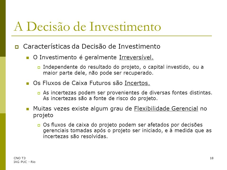 A Decisão de Investimento