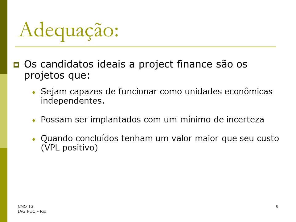 Adequação: Os candidatos ideais a project finance são os projetos que: