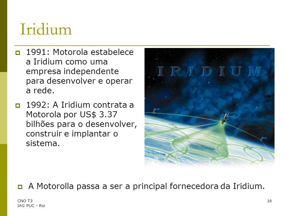 Iridium 1991: Motorola estabelece a Iridium como uma empresa independente para desenvolver e operar a rede.