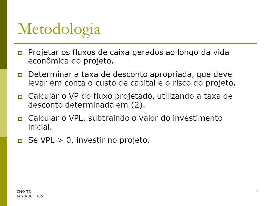 Metodologia Projetar os fluxos de caixa gerados ao longo da vida econômica do projeto.