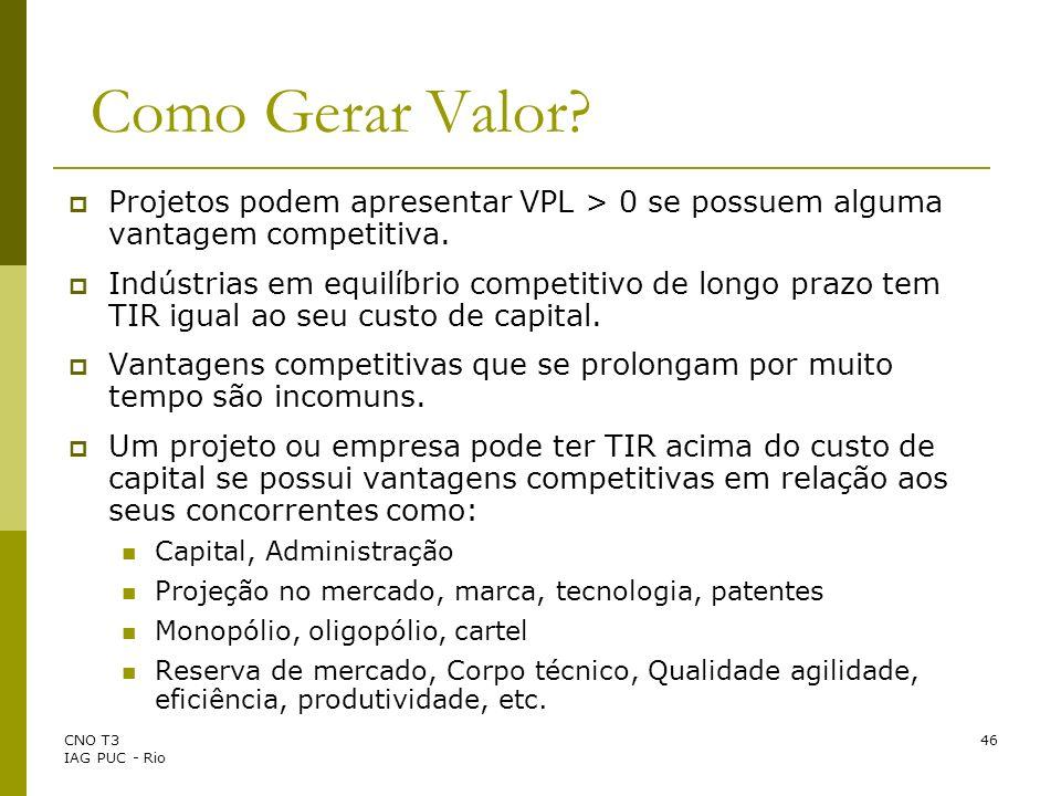 Como Gerar Valor Projetos podem apresentar VPL > 0 se possuem alguma vantagem competitiva.