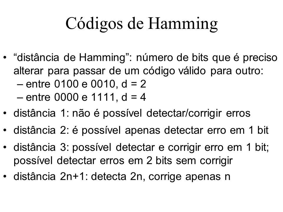 Códigos de Hamming distância de Hamming : número de bits que é preciso alterar para passar de um código válido para outro: