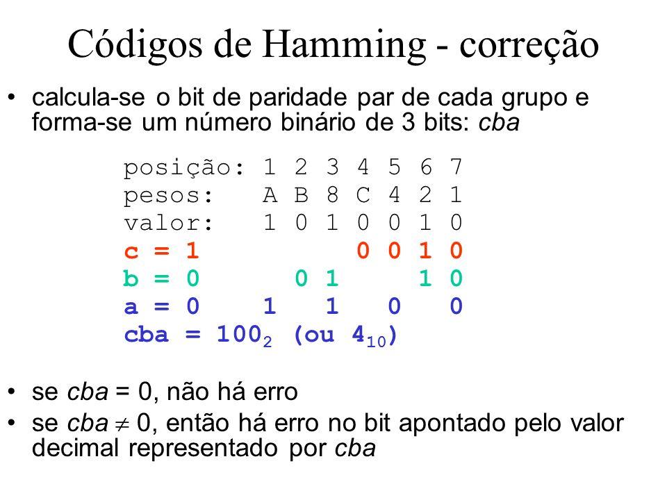 Códigos de Hamming - correção