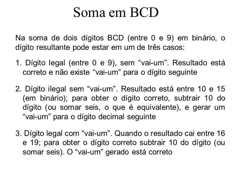 Soma em BCD Na soma de dois dígitos BCD (entre 0 e 9) em binário, o dígito resultante pode estar em um de três casos: