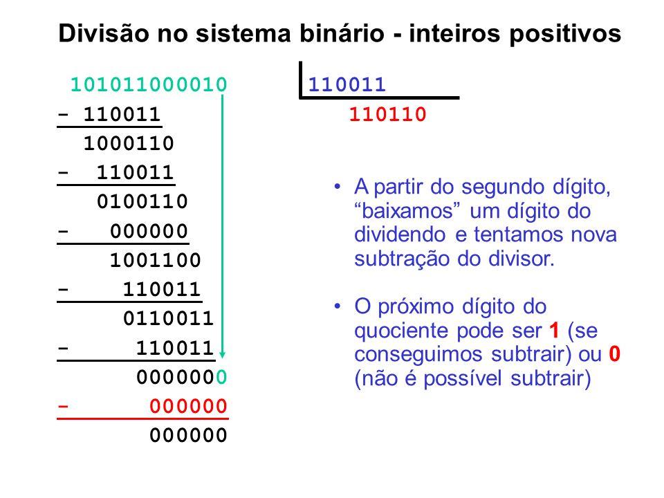 Divisão no sistema binário - inteiros positivos