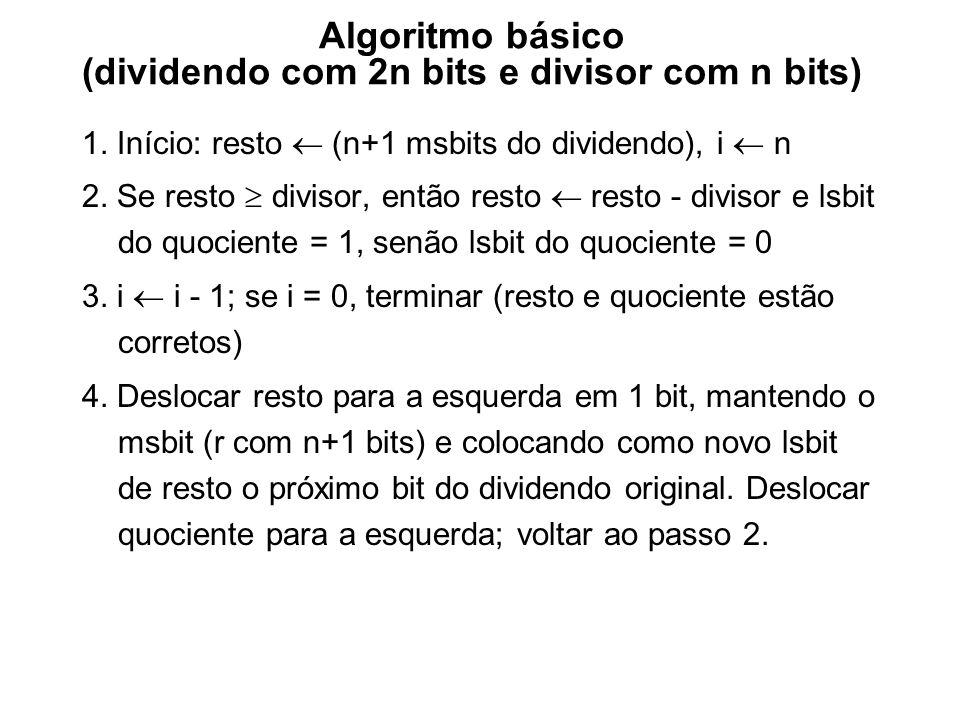 Algoritmo básico (dividendo com 2n bits e divisor com n bits)