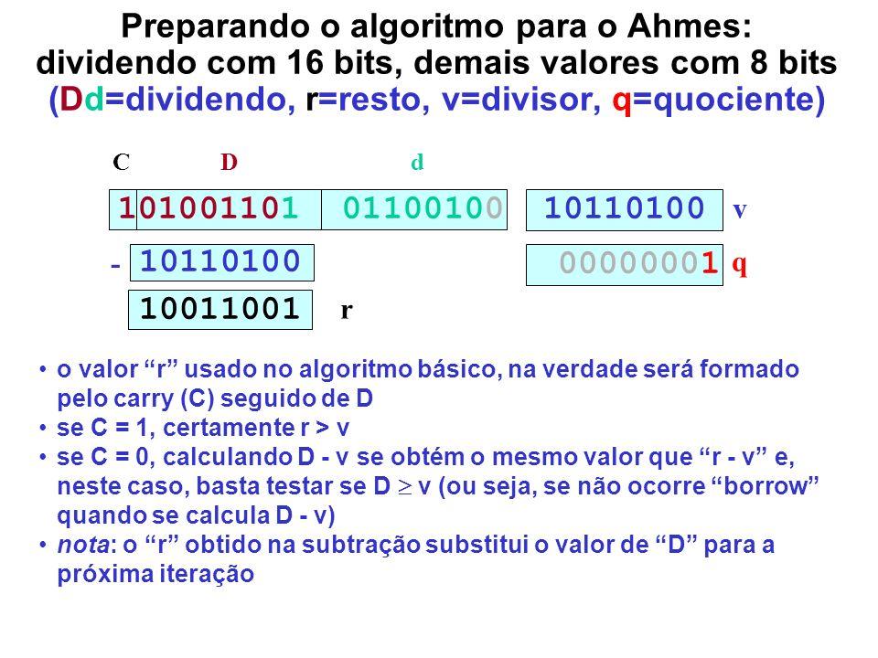 Preparando o algoritmo para o Ahmes: dividendo com 16 bits, demais valores com 8 bits (Dd=dividendo, r=resto, v=divisor, q=quociente)