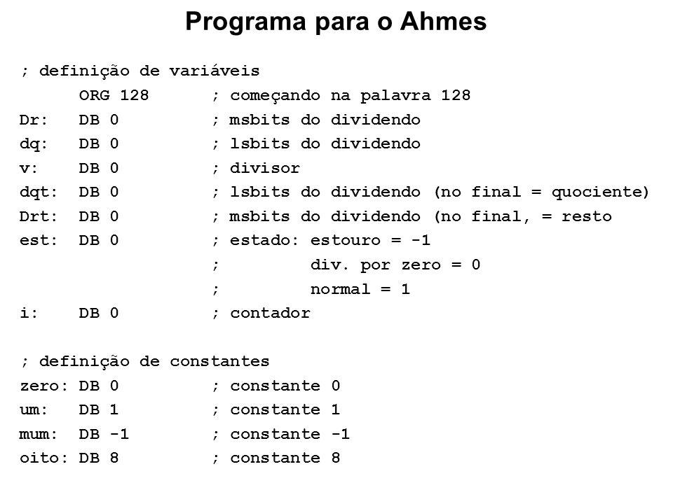 Programa para o Ahmes ; definição de variáveis