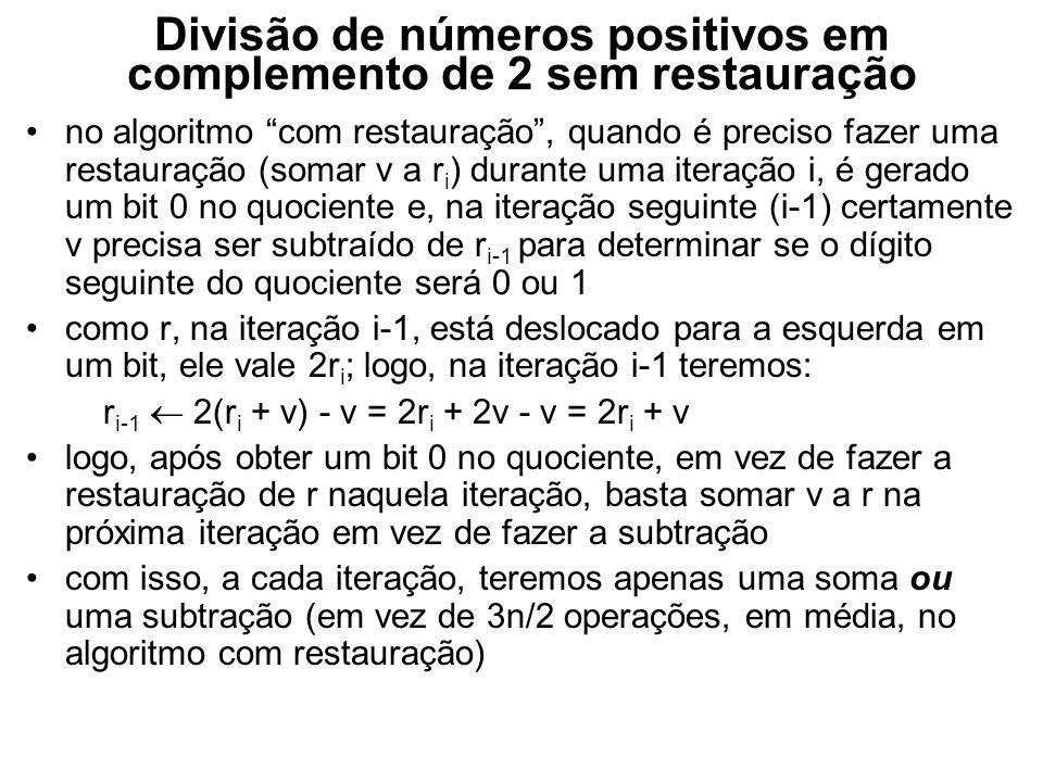 Divisão de números positivos em complemento de 2 sem restauração