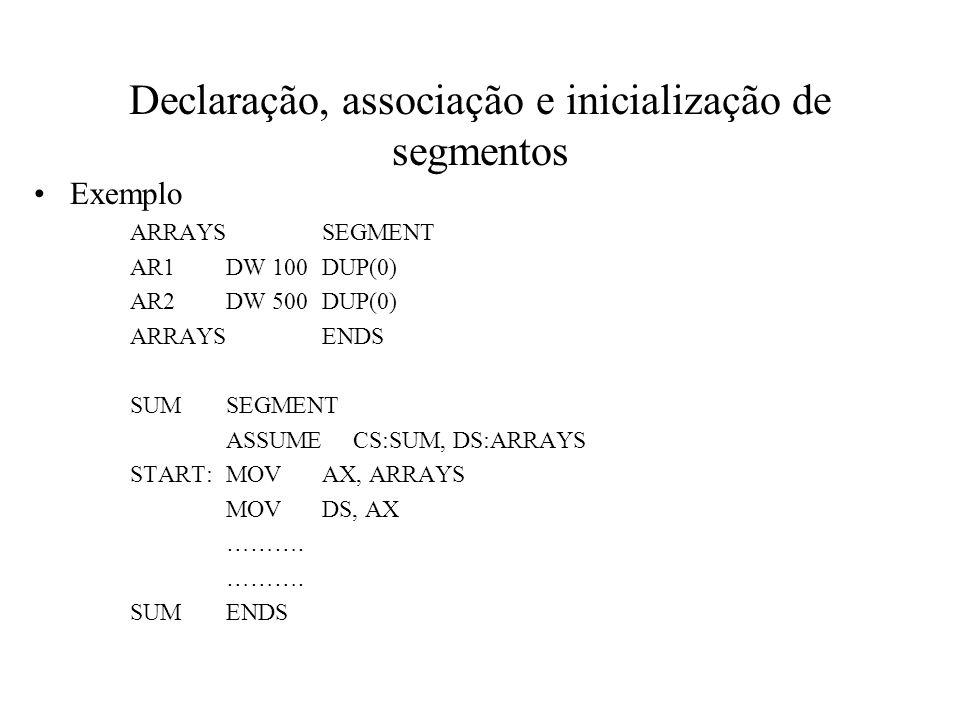 Declaração, associação e inicialização de segmentos