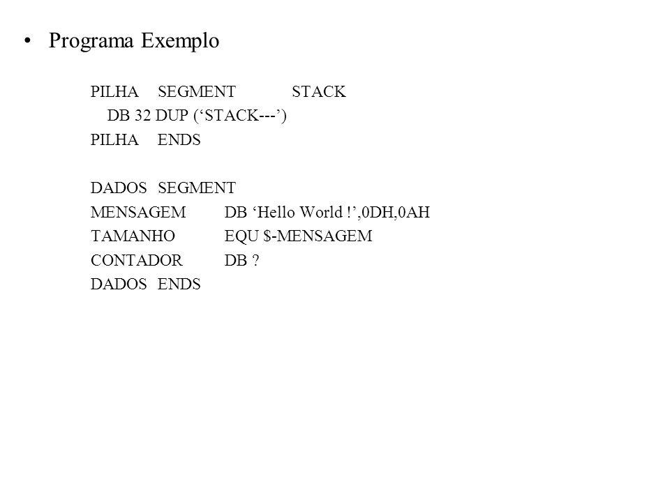 Programa Exemplo PILHA SEGMENT STACK DB 32 DUP ('STACK---') PILHA ENDS