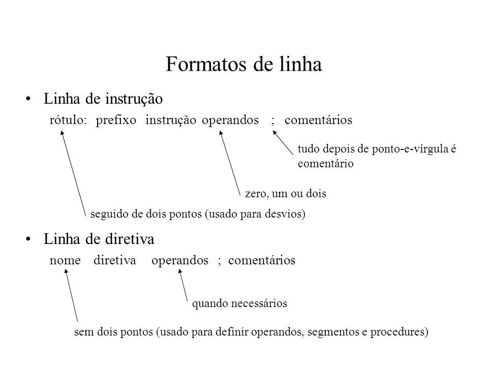 Formatos de linha Linha de instrução Linha de diretiva