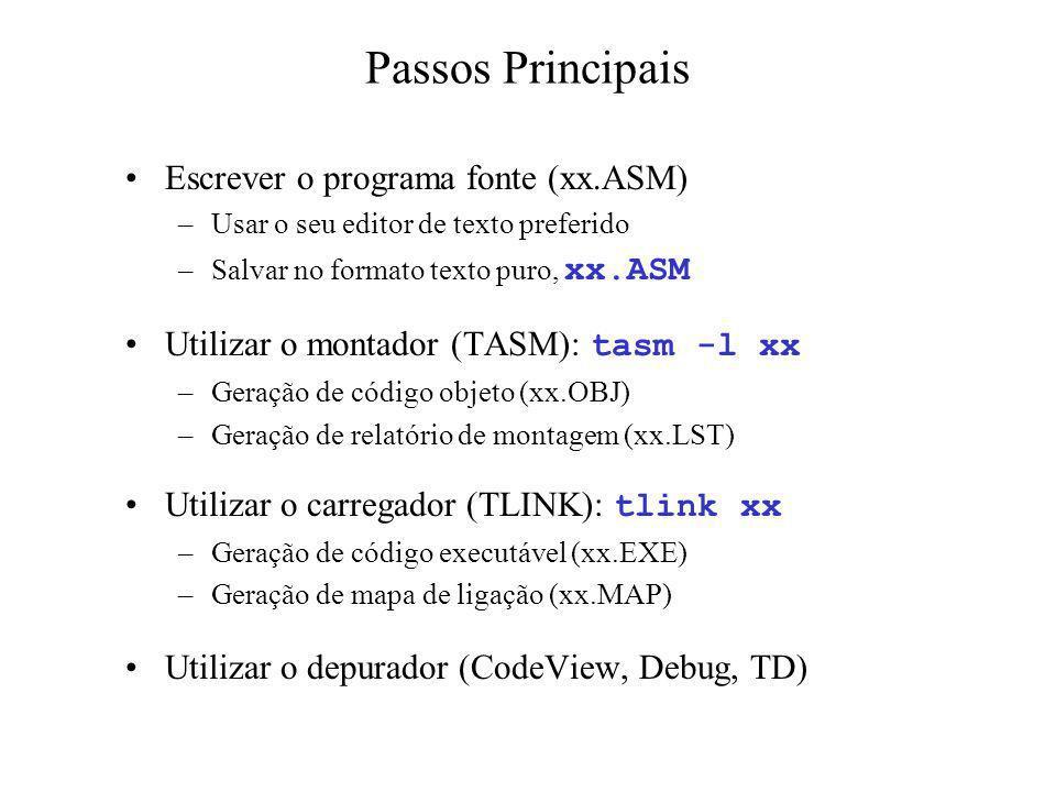 Passos Principais Escrever o programa fonte (xx.ASM)