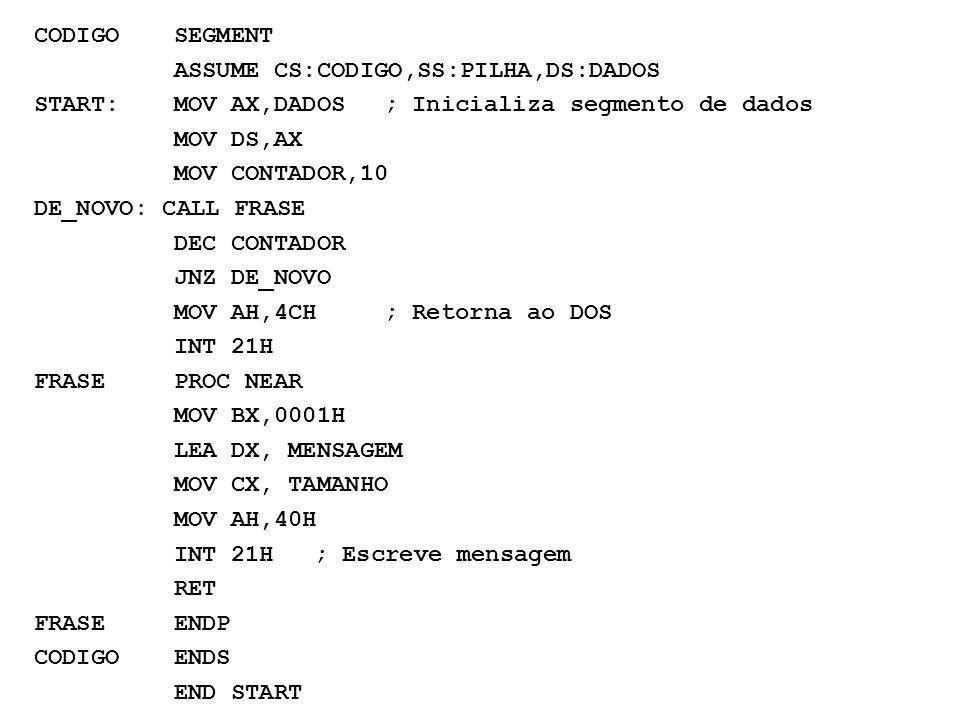 CODIGO SEGMENT ASSUME CS:CODIGO,SS:PILHA,DS:DADOS. START: MOV AX,DADOS ; Inicializa segmento de dados.